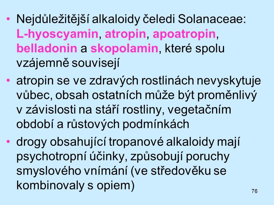 Nejdůležitější alkaloidy čeledi Solanaceae: L-hyoscyamin, atropin, apoatropin, belladonin a skopolamin, které spolu vzájemně souvisejí