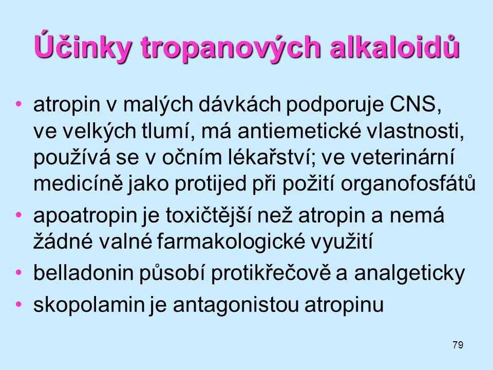 Účinky tropanových alkaloidů