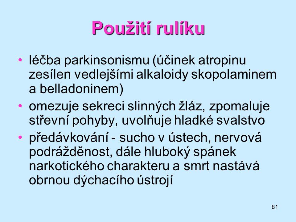 Použití rulíku léčba parkinsonismu (účinek atropinu zesílen vedlejšími alkaloidy skopolaminem a belladoninem)