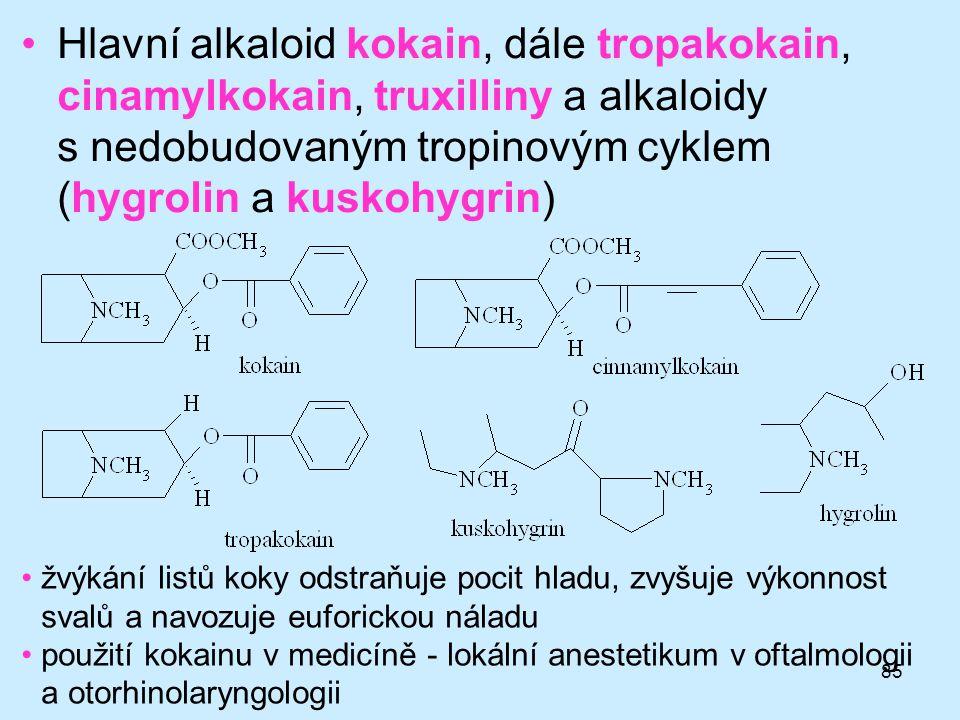 Hlavní alkaloid kokain, dále tropakokain, cinamylkokain, truxilliny a alkaloidy s nedobudovaným tropinovým cyklem (hygrolin a kuskohygrin)