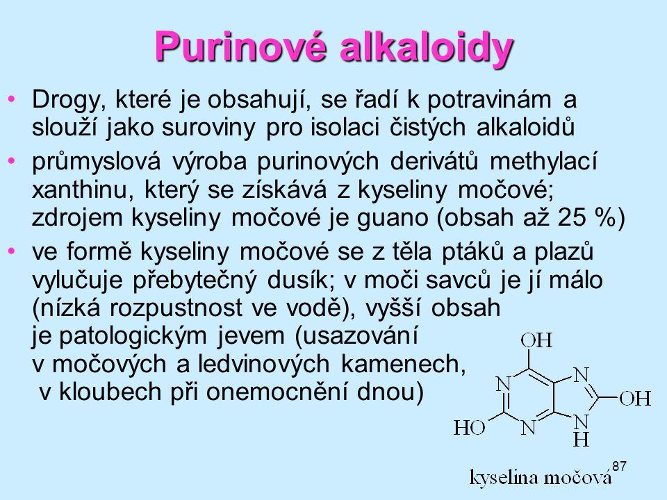 Purinové alkaloidy Drogy, které je obsahují, se řadí k potravinám a slouží jako suroviny pro isolaci čistých alkaloidů.