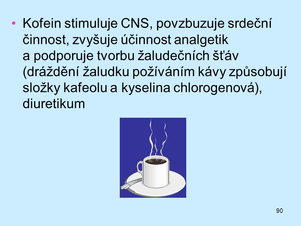 Kofein stimuluje CNS, povzbuzuje srdeční činnost, zvyšuje účinnost analgetik a podporuje tvorbu žaludečních šťáv (dráždění žaludku požíváním kávy způsobují složky kafeolu a kyselina chlorogenová), diuretikum