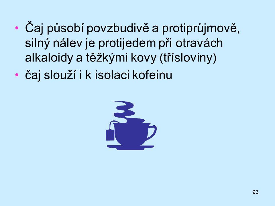 Čaj působí povzbudivě a protiprůjmově, silný nálev je protijedem při otravách alkaloidy a těžkými kovy (třísloviny)