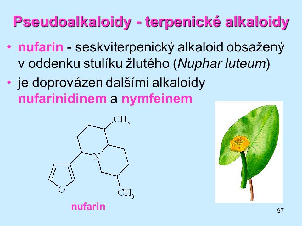 Pseudoalkaloidy - terpenické alkaloidy