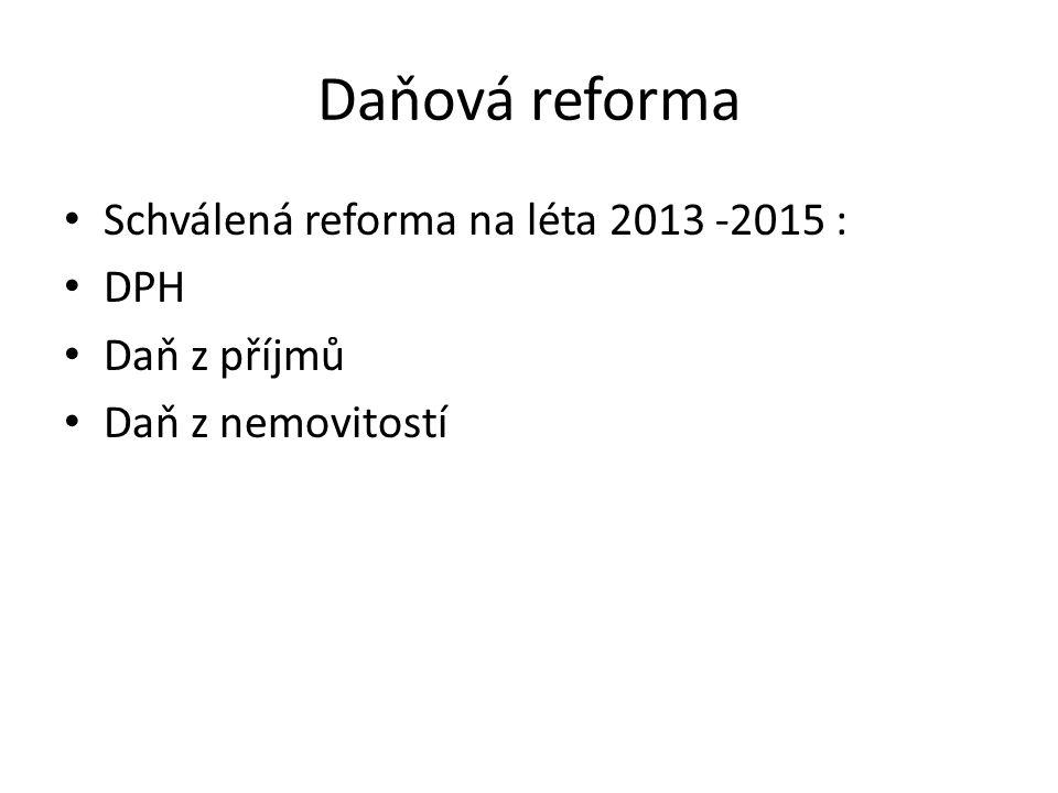 Daňová reforma Schválená reforma na léta 2013 -2015 : DPH Daň z příjmů