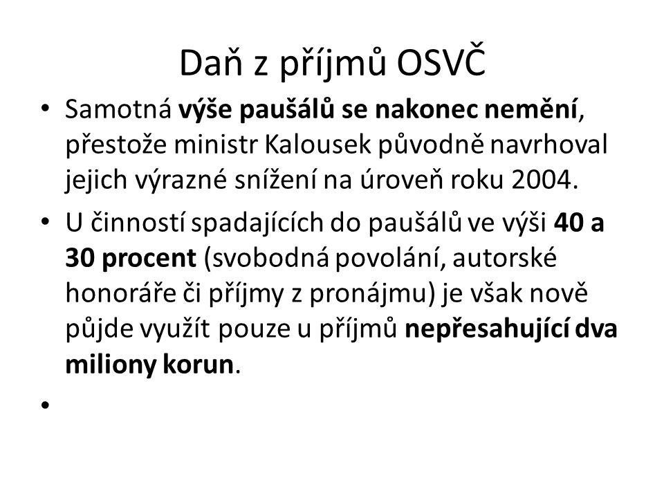 Daň z příjmů OSVČ Samotná výše paušálů se nakonec nemění, přestože ministr Kalousek původně navrhoval jejich výrazné snížení na úroveň roku 2004.