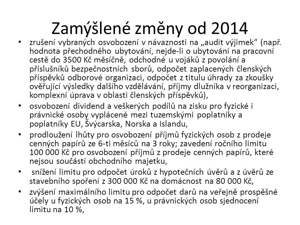 Zamýšlené změny od 2014