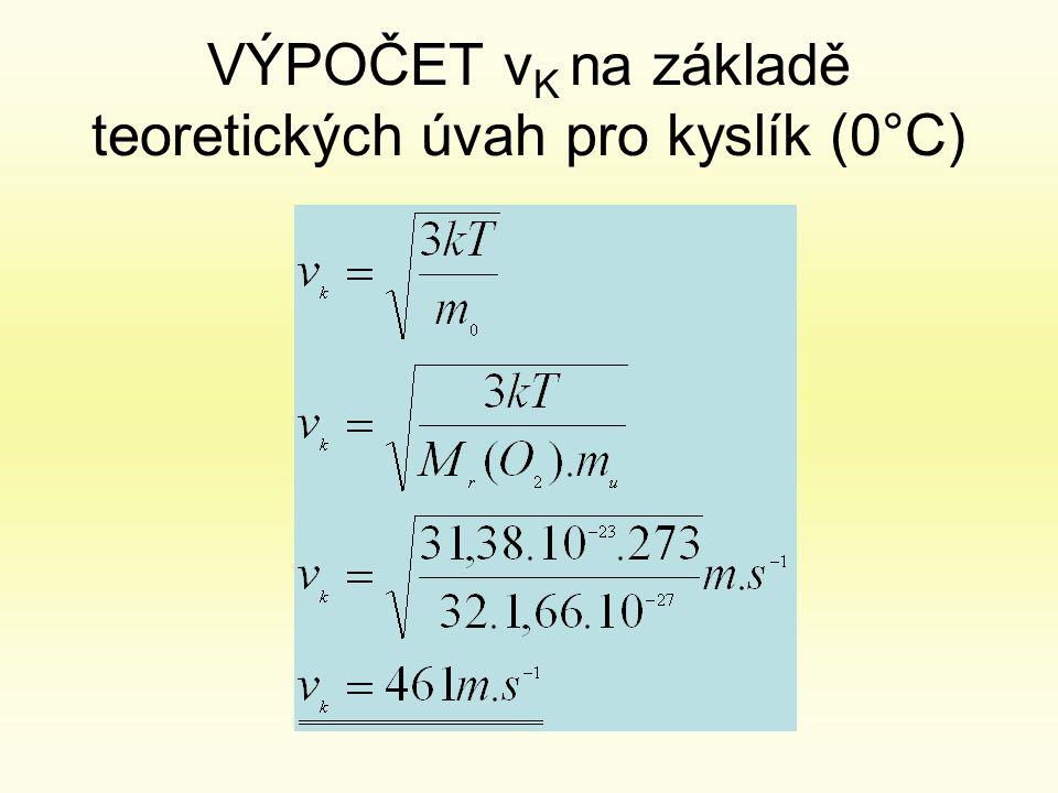 VÝPOČET vK na základě teoretických úvah pro kyslík (0°C)
