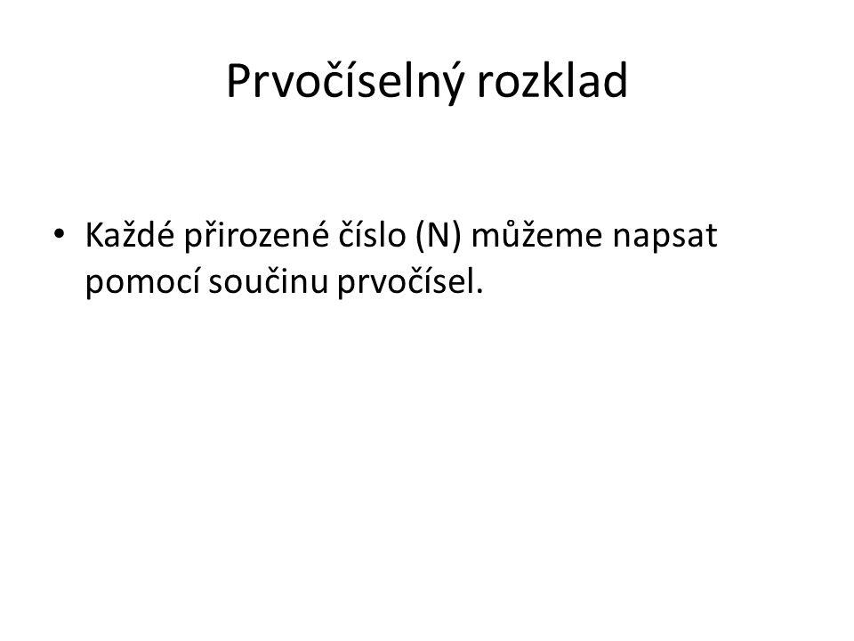 Prvočíselný rozklad Každé přirozené číslo (N) můžeme napsat pomocí součinu prvočísel.