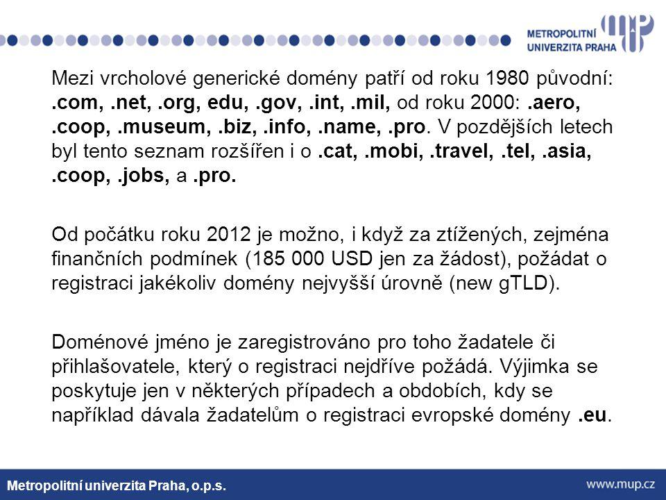 Mezi vrcholové generické domény patří od roku 1980 původní: .com, .net, .org, edu, .gov, .int, .mil, od roku 2000: .aero, .coop, .museum, .biz, .info, .name, .pro. V pozdějších letech byl tento seznam rozšířen i o .cat, .mobi, .travel, .tel, .asia, .coop, .jobs, a .pro. Od počátku roku 2012 je možno, i když za ztížených, zejména finančních podmínek (185 000 USD jen za žádost), požádat o registraci jakékoliv domény nejvyšší úrovně (new gTLD). Doménové jméno je zaregistrováno pro toho žadatele či přihlašovatele, který o registraci nejdříve požádá. Výjimka se poskytuje jen v některých případech a obdobích, kdy se například dávala žadatelům o registraci evropské domény .eu.