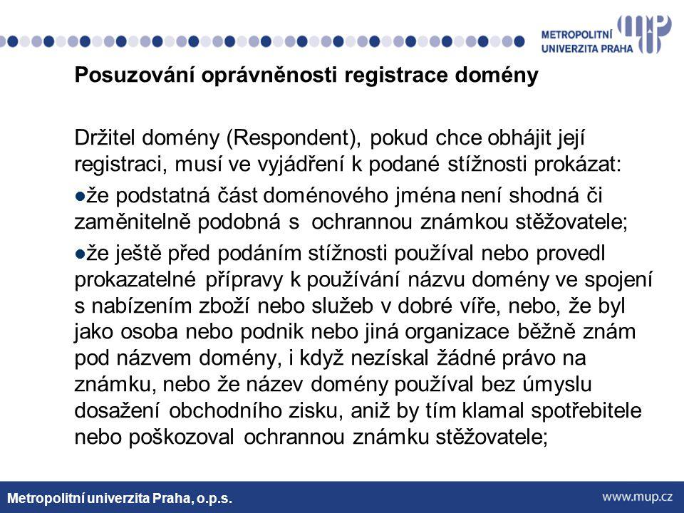 Posuzování oprávněnosti registrace domény