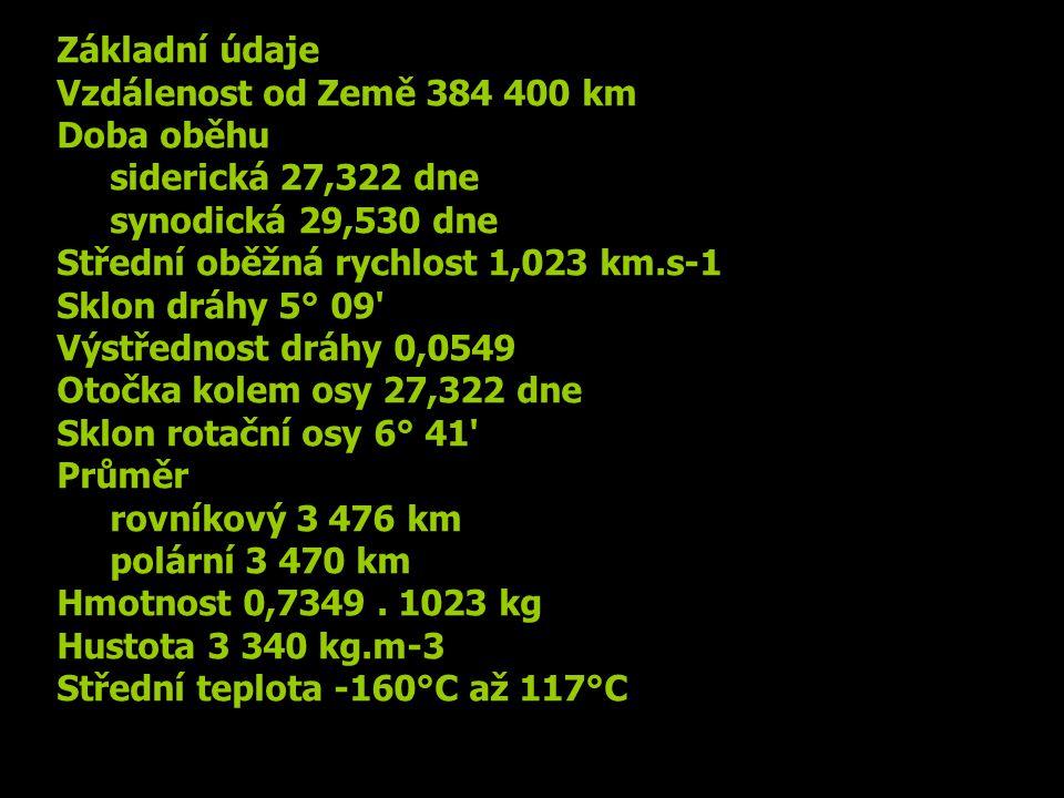 Základní údaje Vzdálenost od Země 384 400 km. Doba oběhu. siderická 27,322 dne. synodická 29,530 dne.