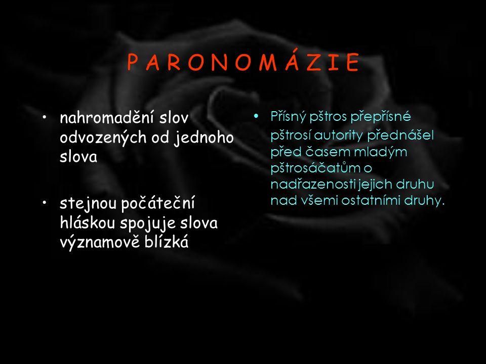 P A R O N O M Á Z I E nahromadění slov odvozených od jednoho slova