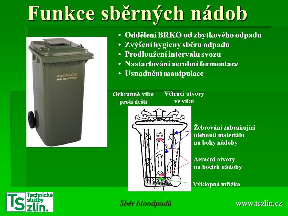 Funkce sběrných nádob Oddělení BRKO od zbytkového odpadu