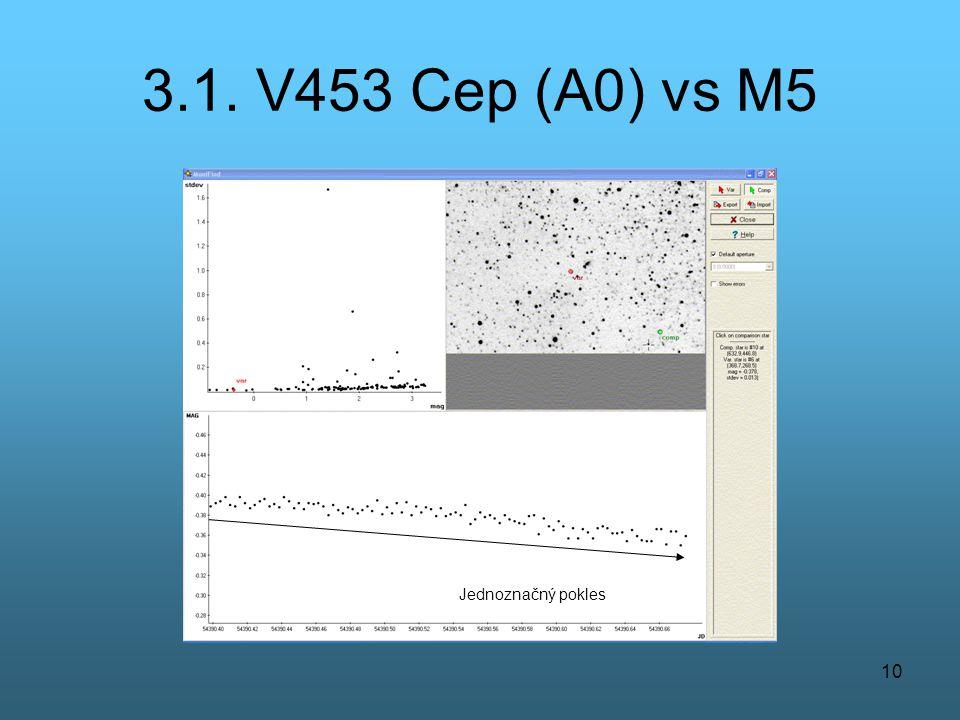 3.1. V453 Cep (A0) vs M5 Jednoznačný pokles
