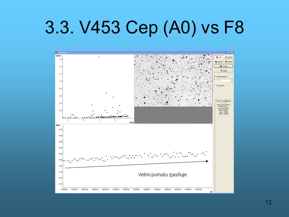 3.3. V453 Cep (A0) vs F8 Velmi pomalu zjasňuje