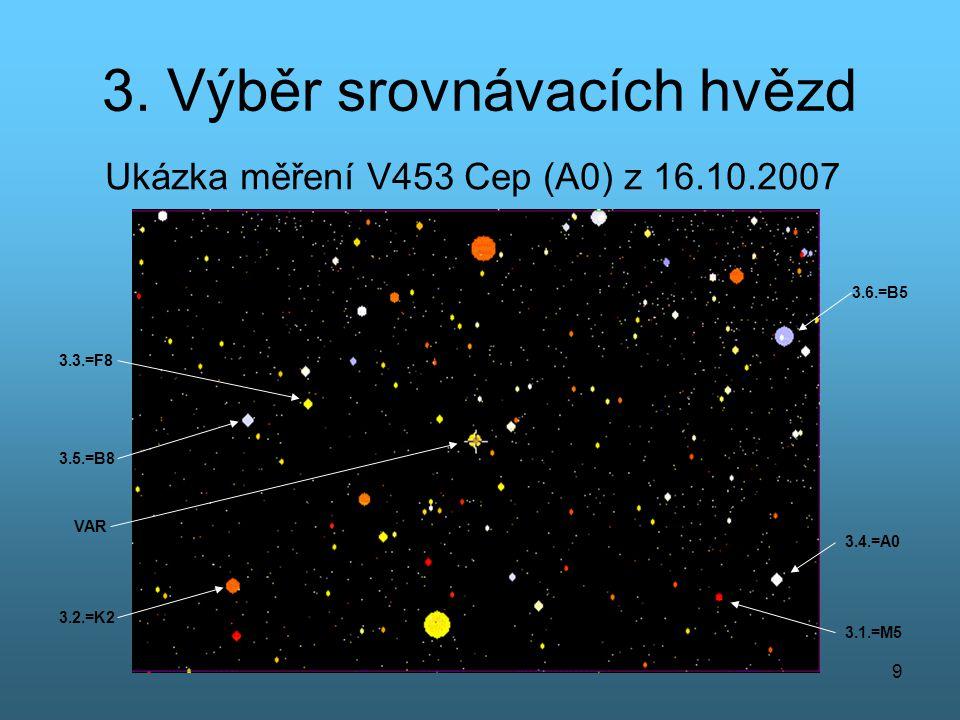 3. Výběr srovnávacích hvězd