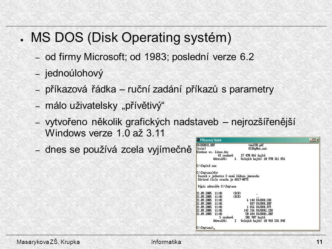 MS DOS (Disk Operating systém)