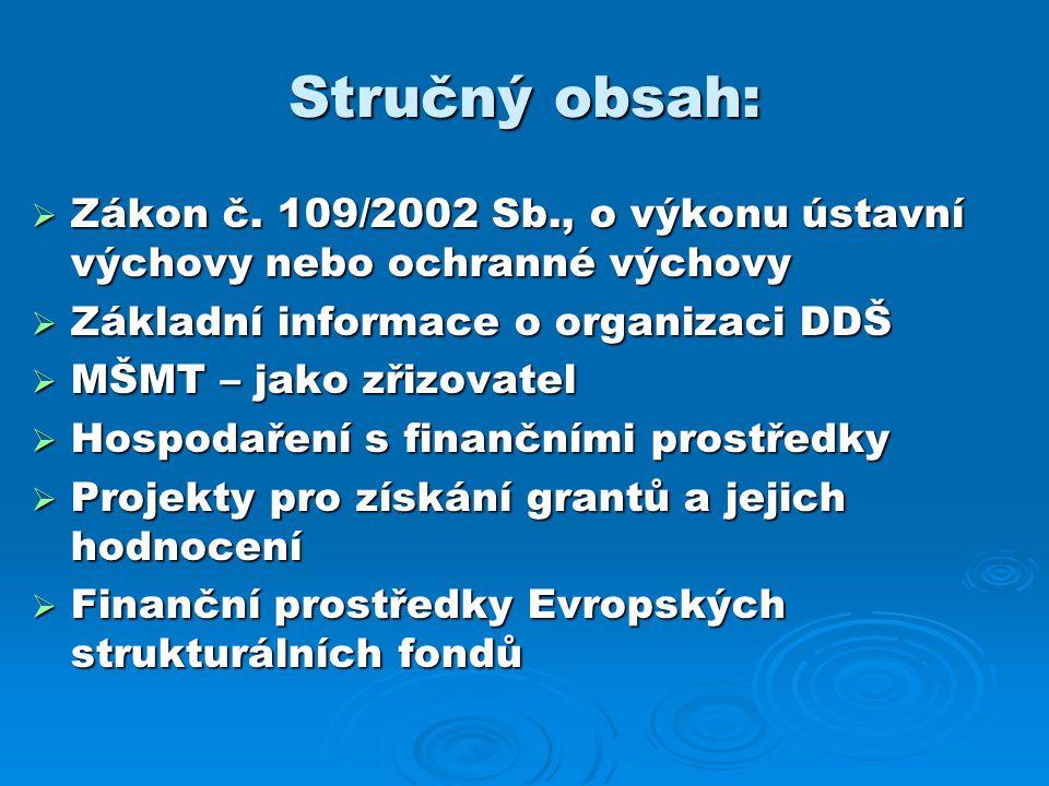 Stručný obsah: Zákon č. 109/2002 Sb., o výkonu ústavní výchovy nebo ochranné výchovy. Základní informace o organizaci DDŠ.
