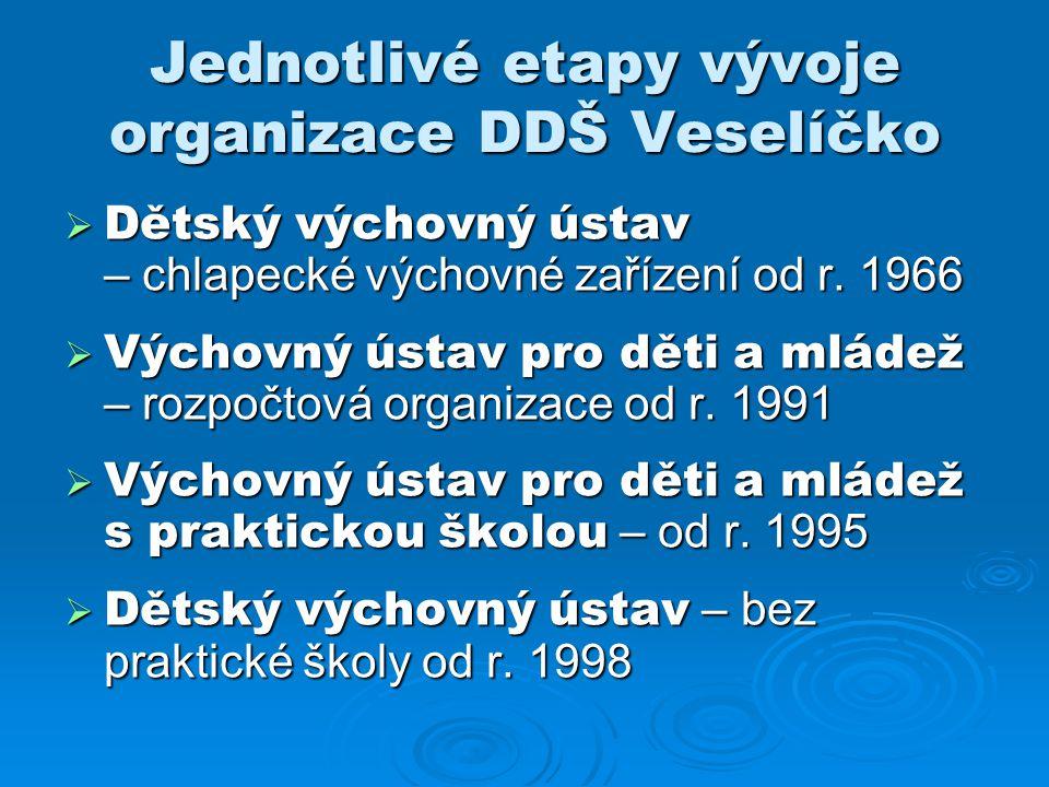 Jednotlivé etapy vývoje organizace DDŠ Veselíčko
