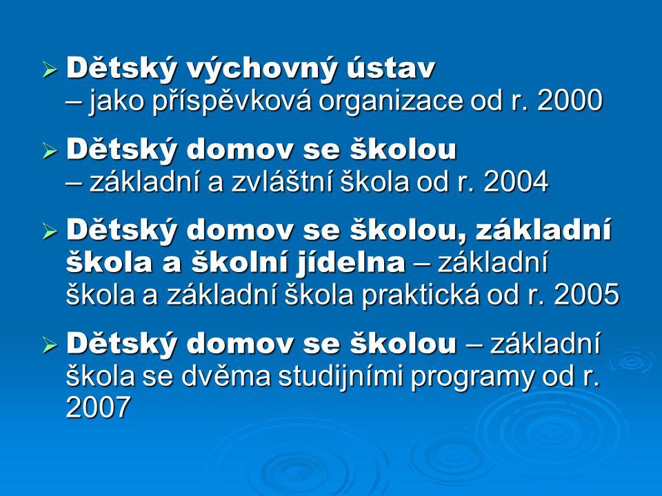Dětský výchovný ústav – jako příspěvková organizace od r. 2000