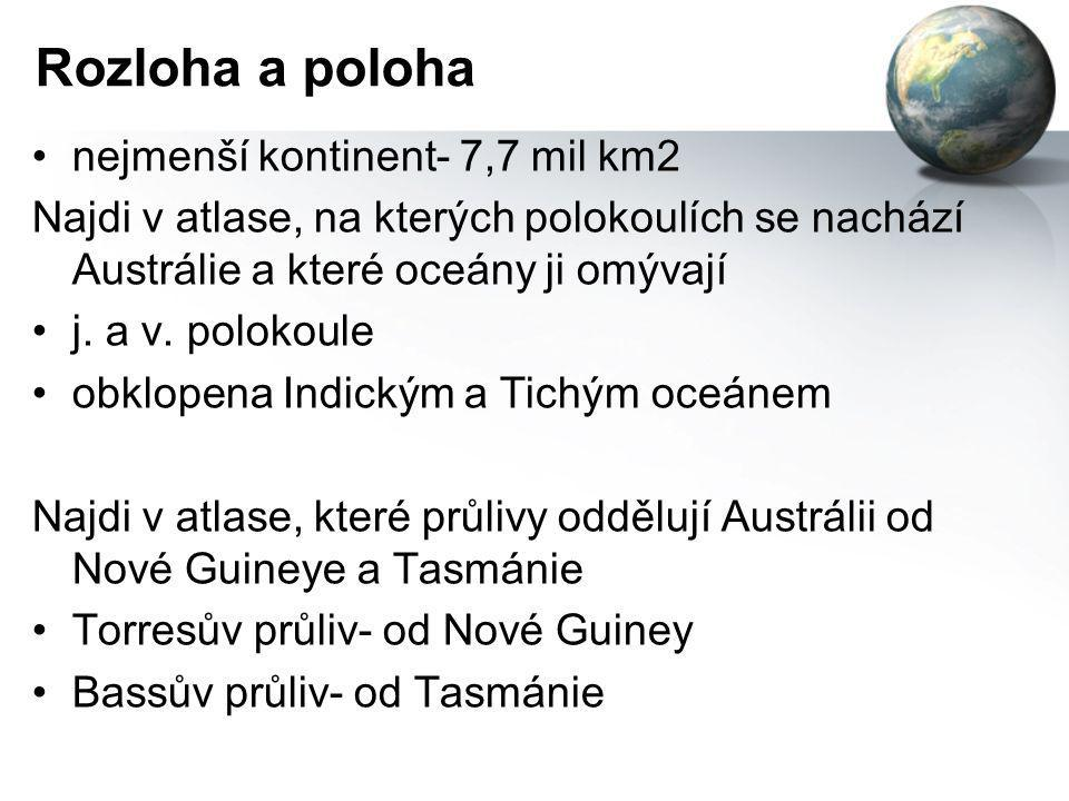 Rozloha a poloha nejmenší kontinent- 7,7 mil km2