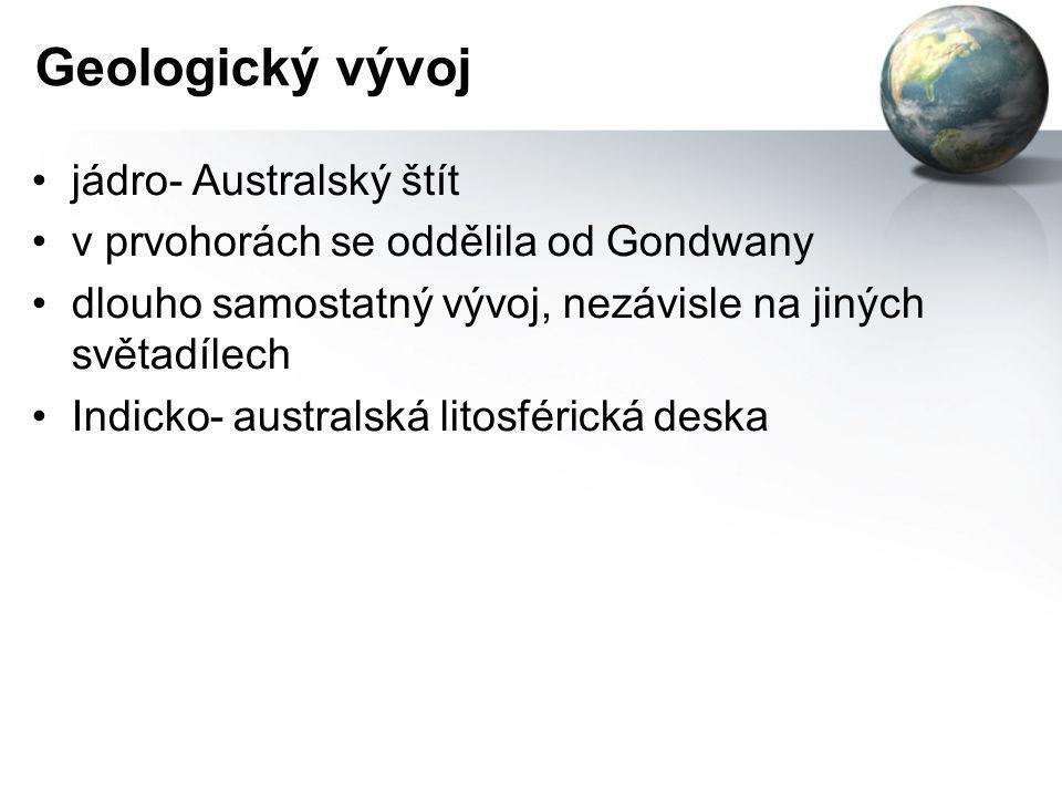 Geologický vývoj jádro- Australský štít