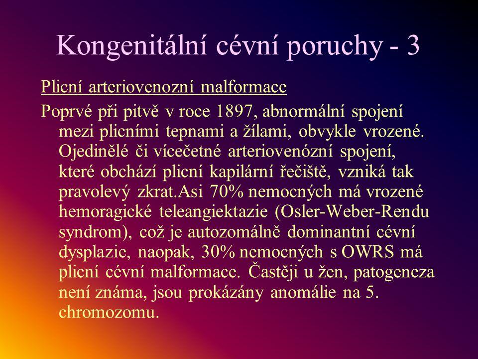 Kongenitální cévní poruchy - 3