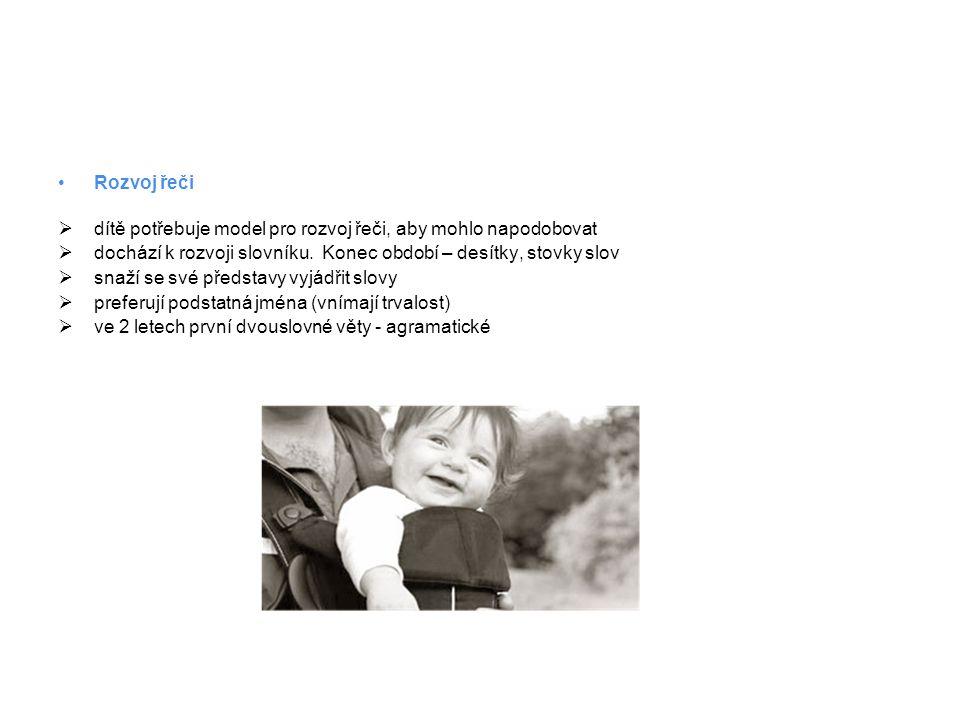 Rozvoj řeči dítě potřebuje model pro rozvoj řeči, aby mohlo napodobovat. dochází k rozvoji slovníku. Konec období – desítky, stovky slov.