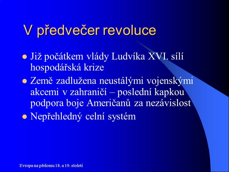 V předvečer revoluce Již počátkem vlády Ludvíka XVI. sílí hospodářská krize.