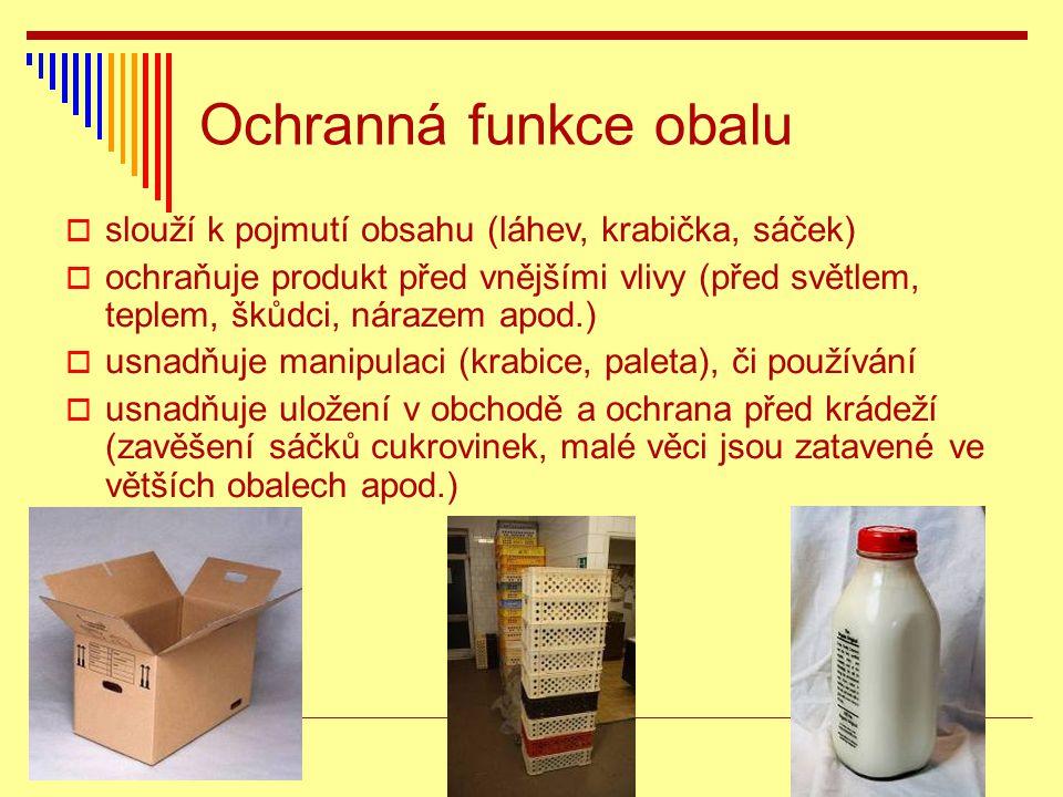 Ochranná funkce obalu slouží k pojmutí obsahu (láhev, krabička, sáček)