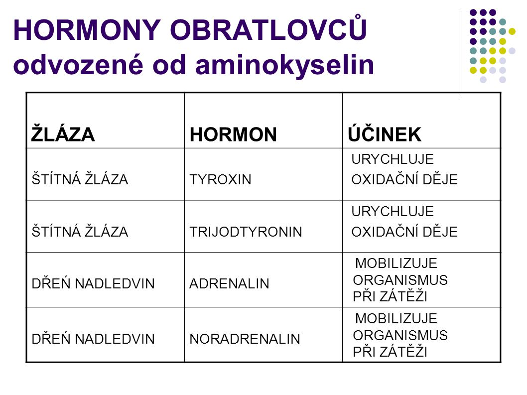 HORMONY OBRATLOVCŮ odvozené od aminokyselin