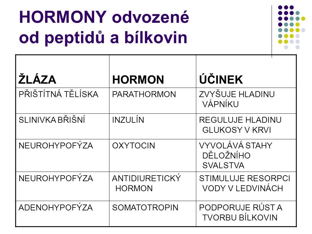 HORMONY odvozené od peptidů a bílkovin