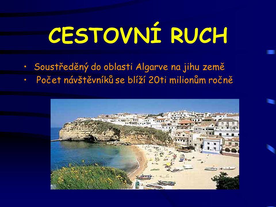 CESTOVNÍ RUCH Soustředěný do oblasti Algarve na jihu země