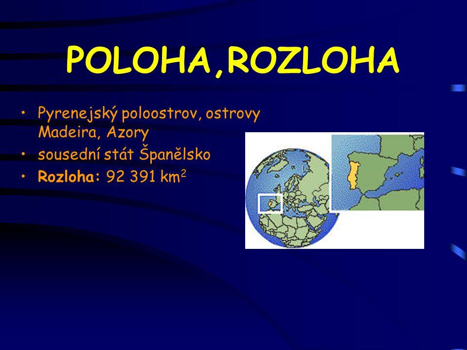 POLOHA,ROZLOHA Pyrenejský poloostrov, ostrovy Madeira, Azory