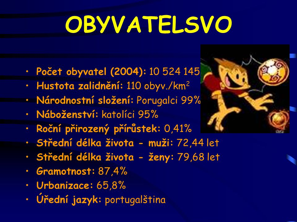 OBYVATELSVO Počet obyvatel (2004): 10 524 145