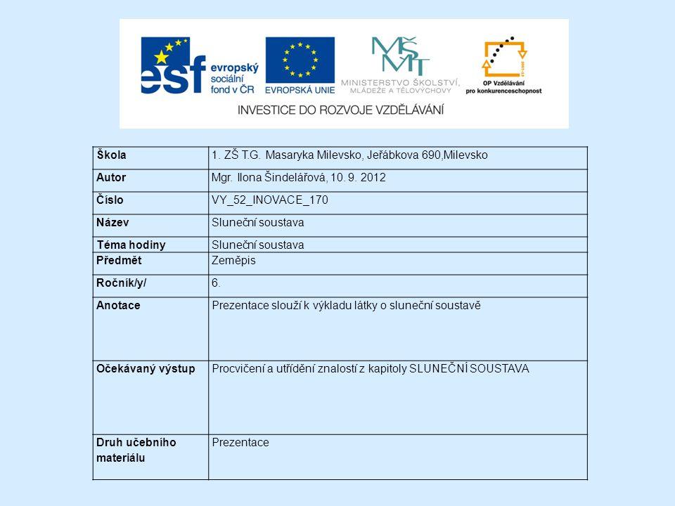 Škola 1. ZŠ T.G. Masaryka Milevsko, Jeřábkova 690,Milevsko. Autor. Mgr. Ilona Šindelářová, 10. 9. 2012.