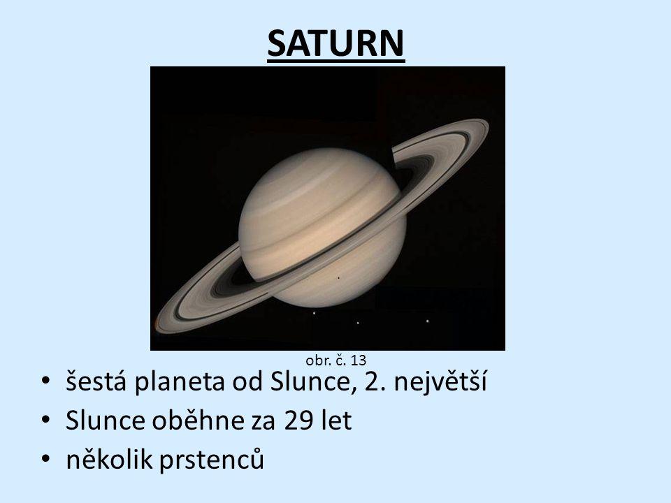 SATURN šestá planeta od Slunce, 2. největší Slunce oběhne za 29 let