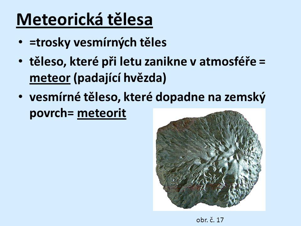 Meteorická tělesa =trosky vesmírných těles