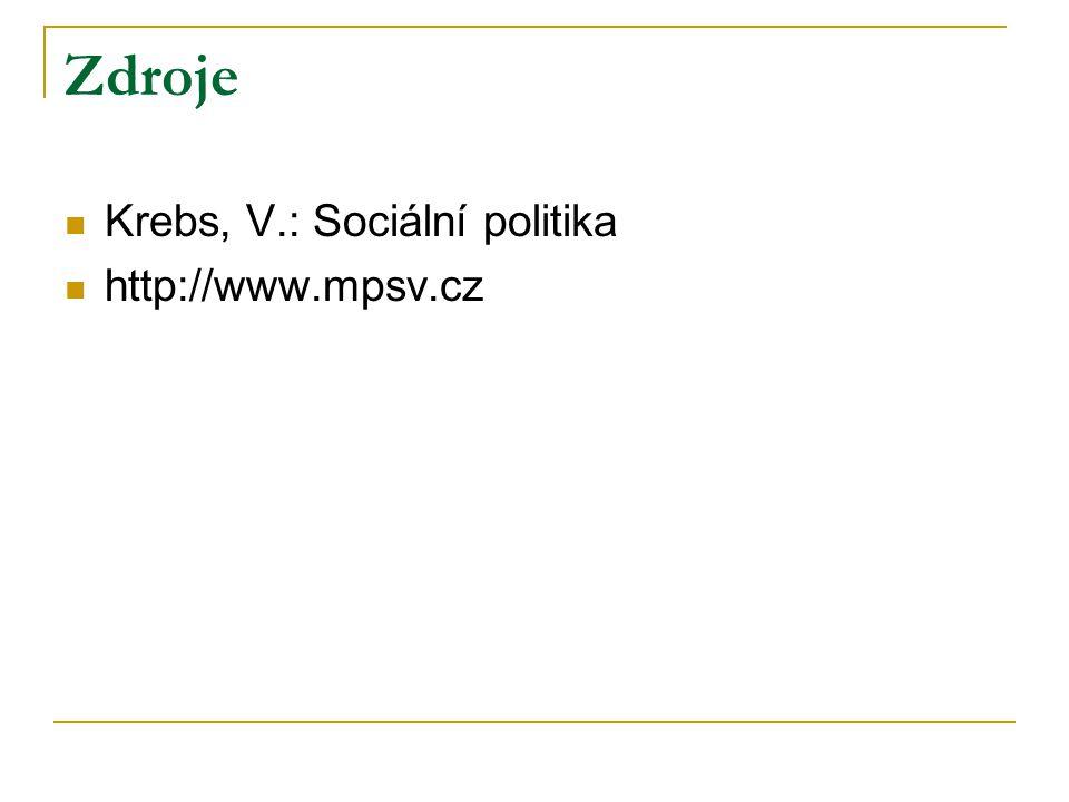 Zdroje Krebs, V.: Sociální politika http://www.mpsv.cz