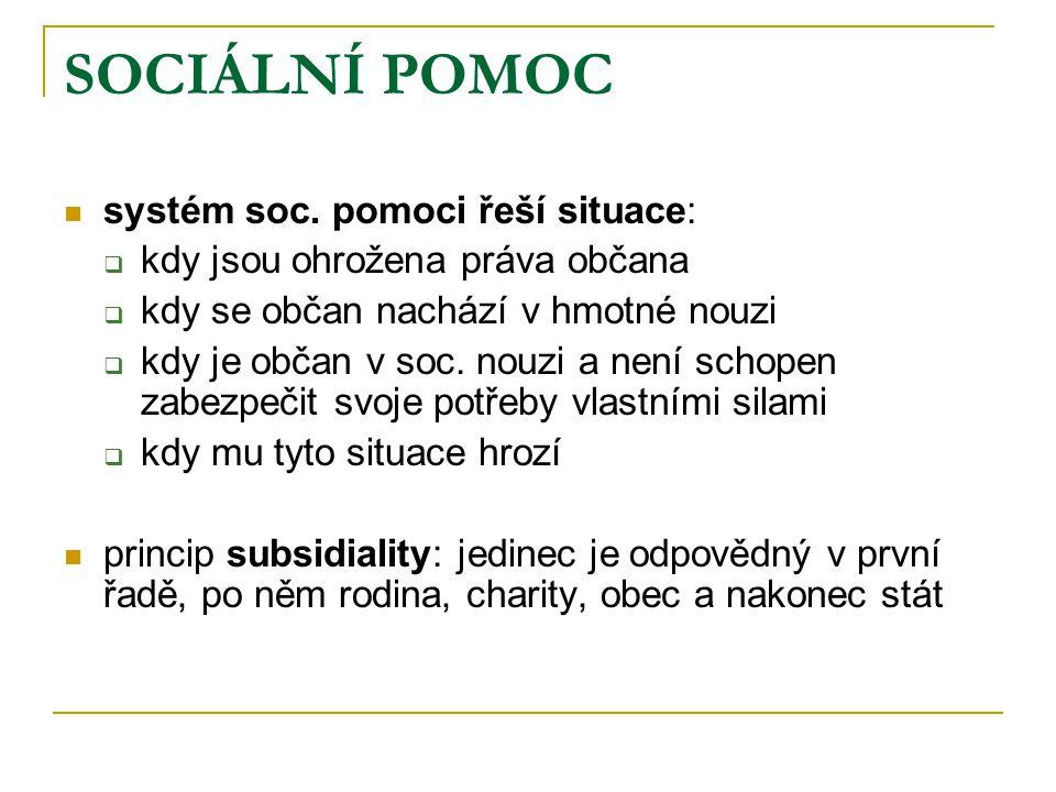 SOCIÁLNÍ POMOC systém soc. pomoci řeší situace: