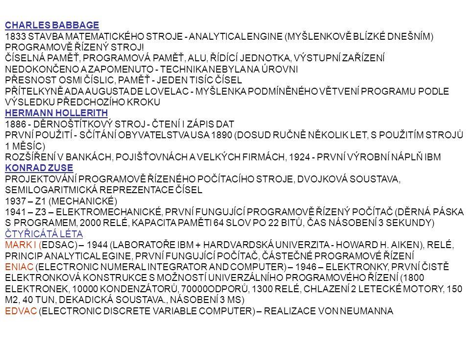 CHARLES BABBAGE 1833 STAVBA MATEMATICKÉHO STROJE - ANALYTICAL ENGINE (MYŠLENKOVĚ BLÍZKÉ DNEŠNÍM) PROGRAMOVĚ ŘÍZENÝ STROJ!