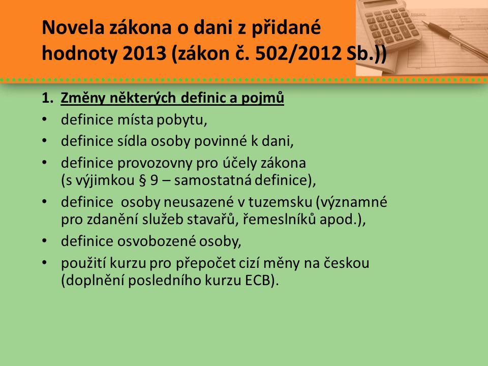 Novela zákona o dani z přidané hodnoty 2013 (zákon č. 502/2012 Sb.))