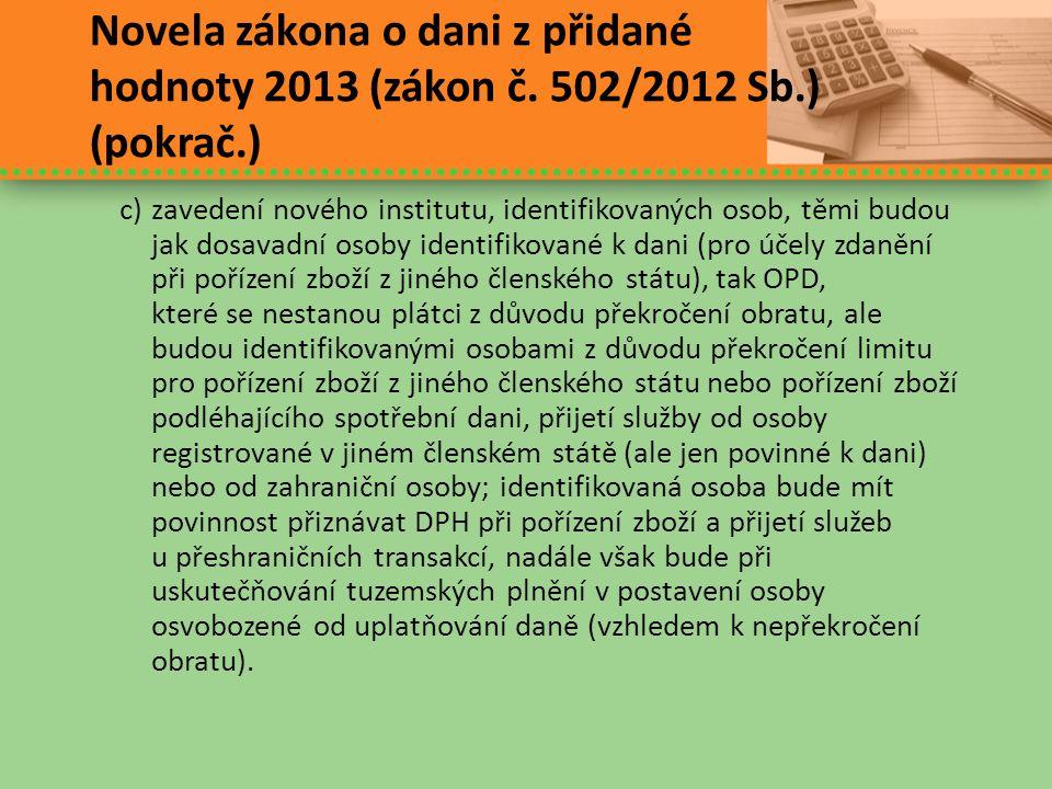 Novela zákona o dani z přidané hodnoty 2013 (zákon č. 502/2012 Sb