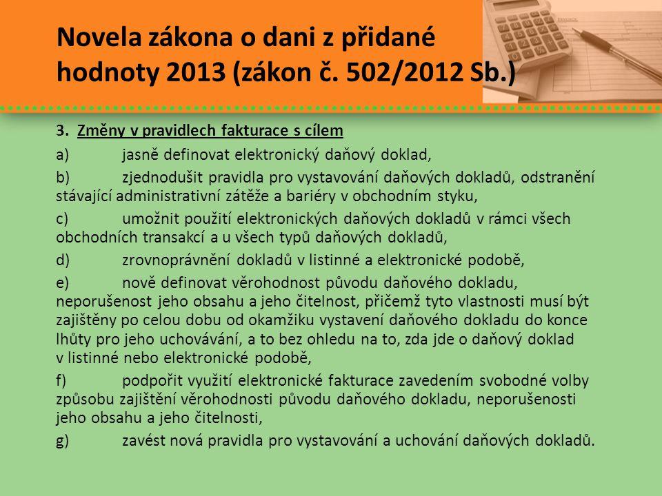 Novela zákona o dani z přidané hodnoty 2013 (zákon č. 502/2012 Sb.)