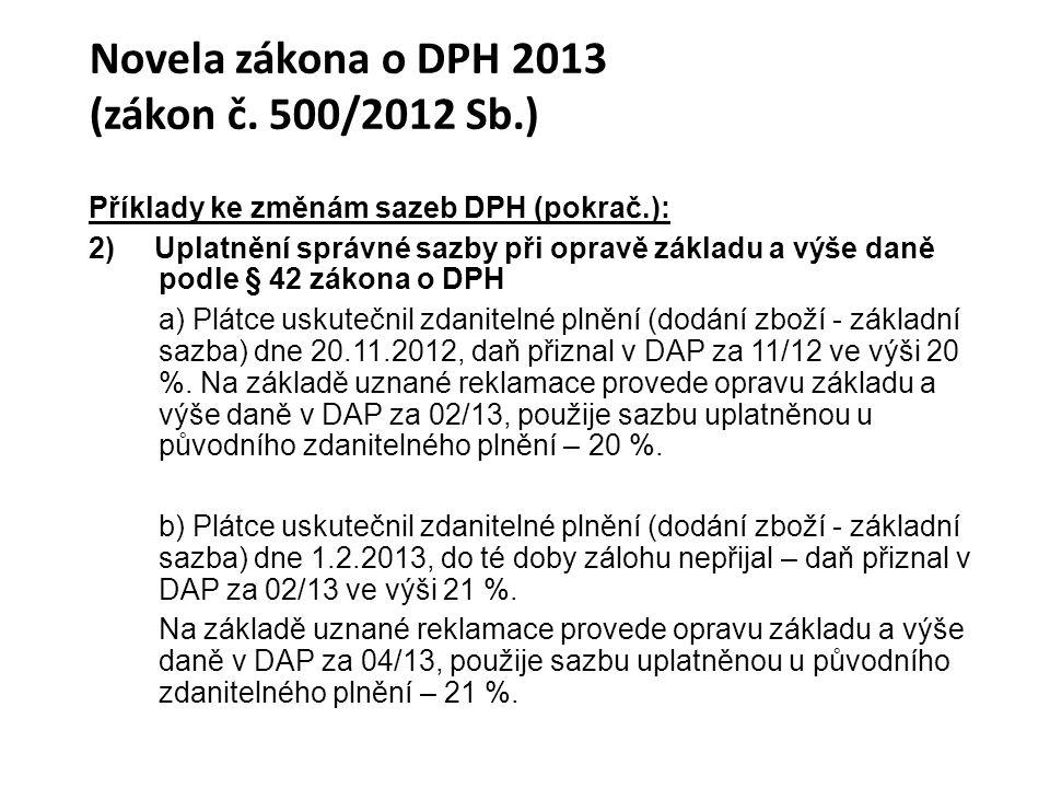 Novela zákona o DPH 2013 (zákon č. 500/2012 Sb.)