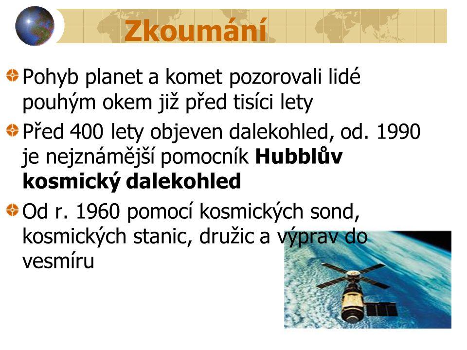 Zkoumání Pohyb planet a komet pozorovali lidé pouhým okem již před tisíci lety.
