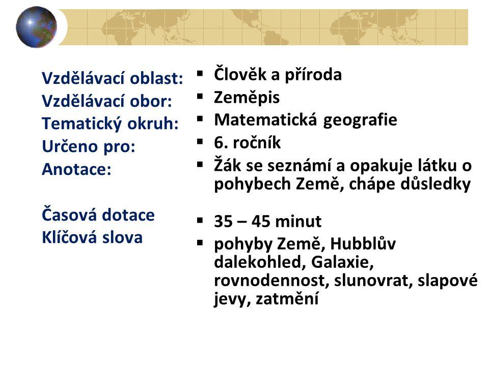 Člověk a příroda Zeměpis. Matematická geografie. 6. ročník. Žák se seznámí a opakuje látku o pohybech Země, chápe důsledky.