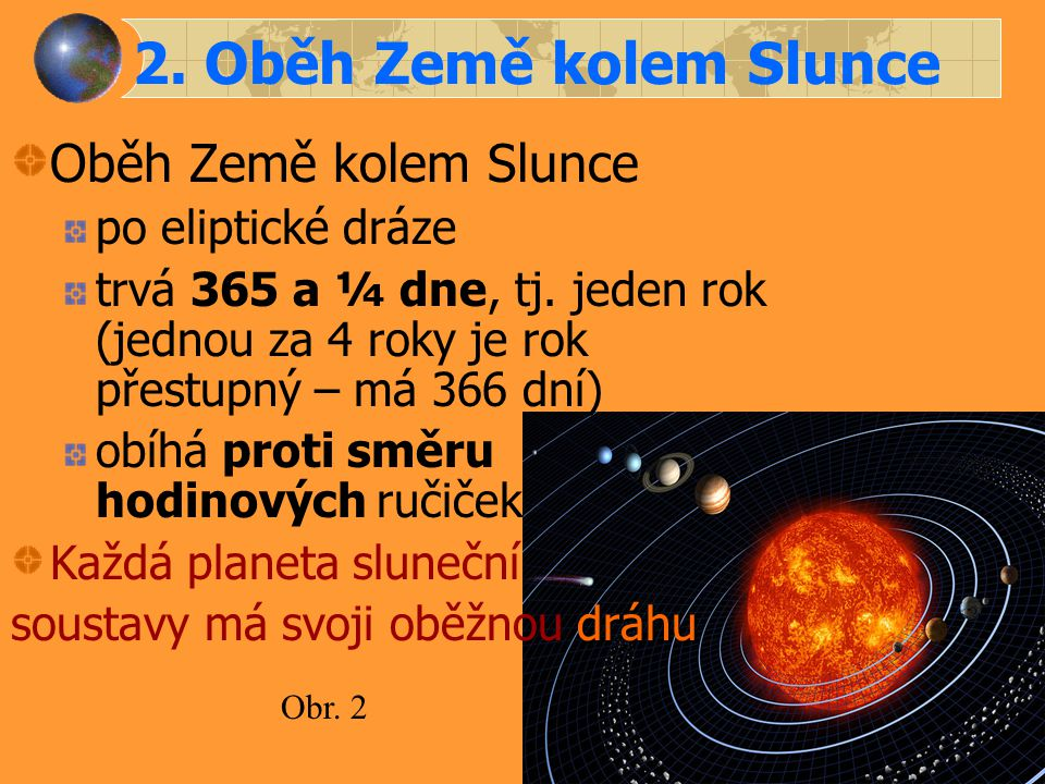 2. Oběh Země kolem Slunce Oběh Země kolem Slunce po eliptické dráze