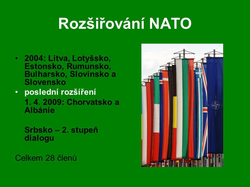 Rozšiřování NATO 2004: Litva, Lotyšsko, Estonsko, Rumunsko, Bulharsko, Slovinsko a Slovensko. poslední rozšíření.